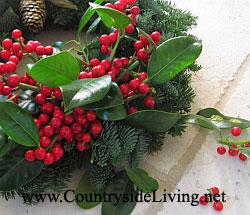 Мой рождественский венок 2011 г. из пихты, украшенный ветками и ягодами остролиста, бантом и покрытой золотом шишкой