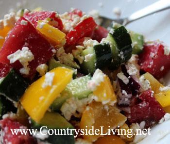 Салат болгарский (шопский) из помидоров, огурцов, сладкого перца и красного лука с сыром. Рецепт